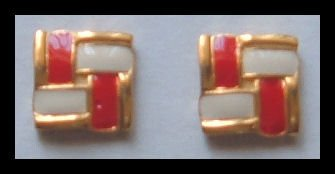 "SQUARE RED and WHITE GOLDTONE PIERCED EARRINGS .65"" 1980s VINTAGE"