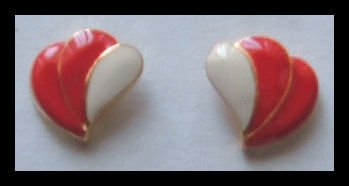 "RED and WHITE ENAMEL G/T WING PIERCED EARRINGS .65"" NOS VINTAGE"
