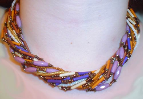 Vintage Tri-Color Beaded Necklace