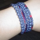 Purple-Blue Beaded Stretchy Bracelet