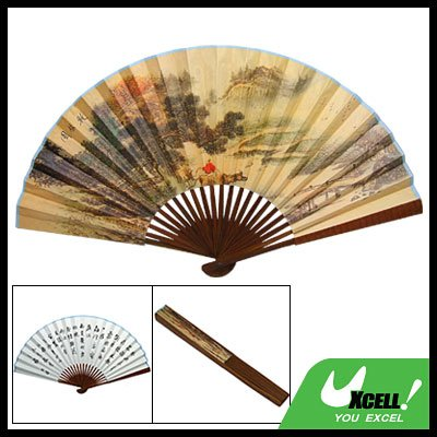 Chinese Character Portable Folding Hand Paper Fan Bamboo Art