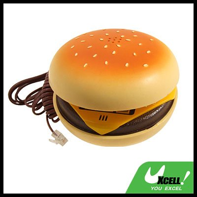Desktop Corded Hamburger Phone Telephone (like in the movie JUNO) - Yellow