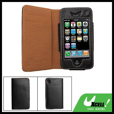 Wallet Style Leather Holder Case for Apple iPhone 3G Black