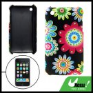 Flower Pattern Leather Coated Plastic Case for iPhone 3G