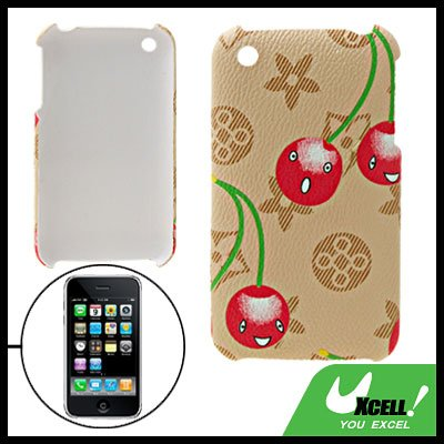 Cartoon Cherry Anti-Slip Plastic Hard Back Case for iPhone 3G