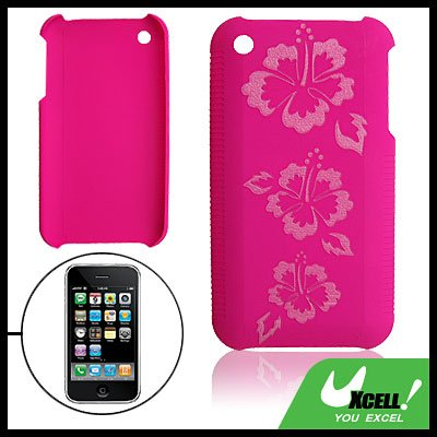 Pinkish Hard Plastic Back Case with Flower Pattern for iPhone 3G