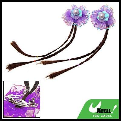 Girls Fashion Brown Extension Plait Wig Hairpiece Purple Flower