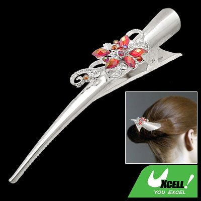Silvery Metal Alligator Hair Clip w/ Rhinestone Flower