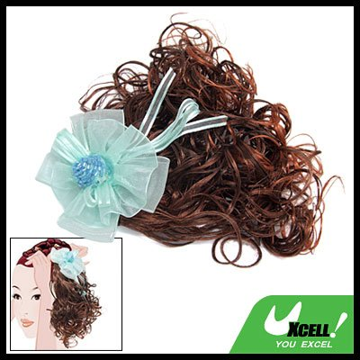Flower Hair Piece Brown Curly Extension Wig for Girls
