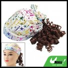Brown Curly Wig Hairpiece with White Cap Hat for Girls