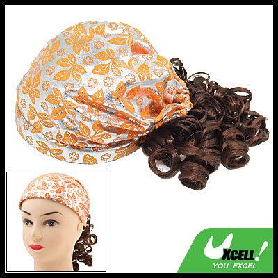 Little Girls Shiny Cap Hat with Brown Curly Wig Hair Piece