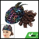 Black Cap Hat with Brown Curly Wig Hairpiece for Girls