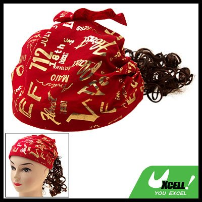 Cap Hat Bandana with Brown Curly Wig Hairpiece for Lovely Girls