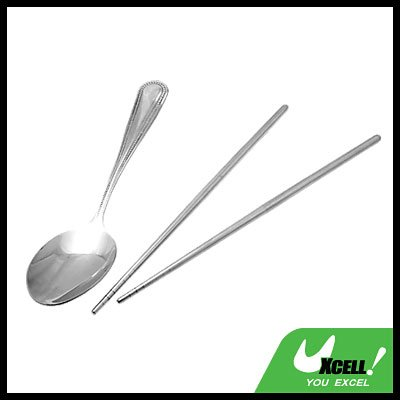 Tableware Silver Stainless Steel Spoon Chinese Chopsticks Set