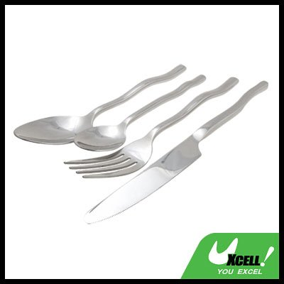 Stainless Steel Dinner Tableware Cutlery Set with Wave-like Handle Design (4 pieces)