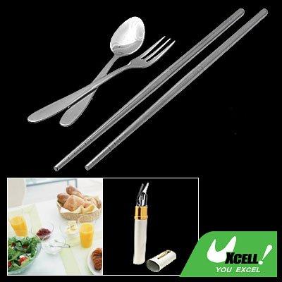 Stainless Steel Tableware Chinese Chopsticks Spoon Fork Cutlery Set