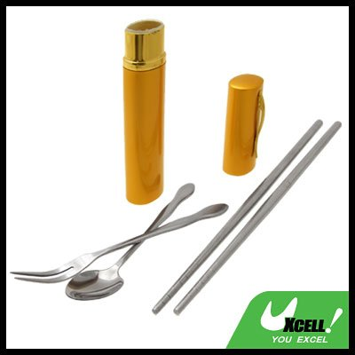 Portable Stainless Steel Chopstics Fork Spoon Tableware Gift