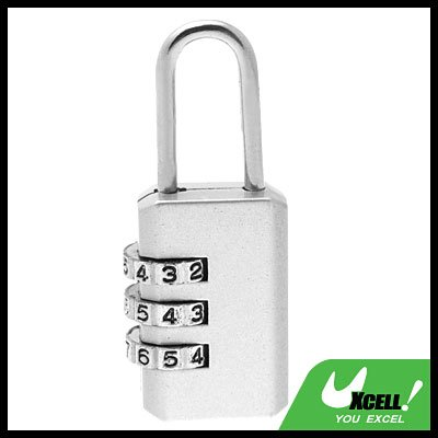 Resettable 3 Digit Combination Padlock Lock Silver