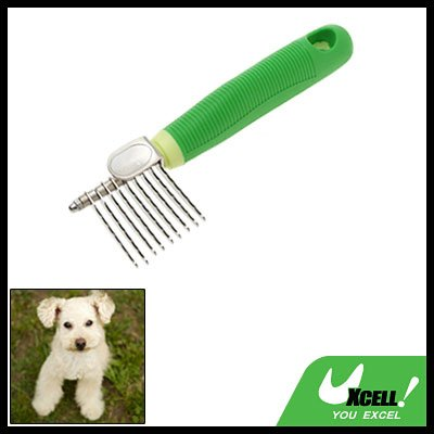 Green Handle Dog & Cat Pets Steel Grooming Moulting Comb