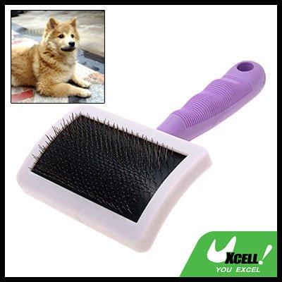 Pet Dog Cat Bristles Grooming Brush w/Purple Handle