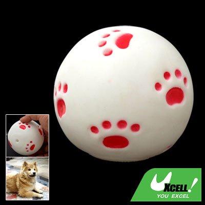 White Vinyl Squeaker Ball Toy for Pet Cat & Dog