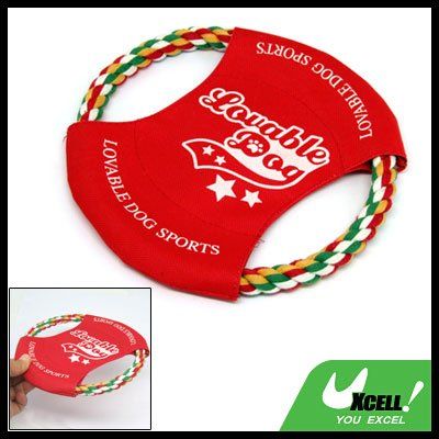 Red Loveable Dog Frisbee Pet Dog Rope Flyer Toys
