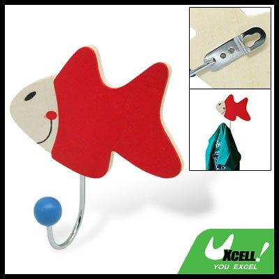 Red Wooden Cartoon Fish Hook Bathroom Towel Hanger