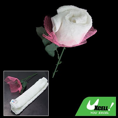 Pink Wraped White Towel Shape Rose Flower with Plastic Leaves for Girl Friends