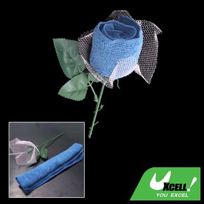 Best Gift Pink Wraped Blue Towel Shape Rose Flower for Girl Friends