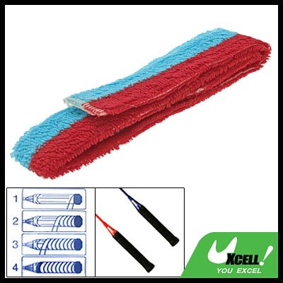 Red and Baby Blue Badminton Racquet Towel Towelling Grip