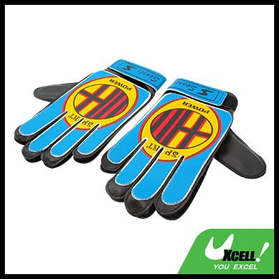 Football Soccer Ball Goalkeeper Gloves Blue and Yellow