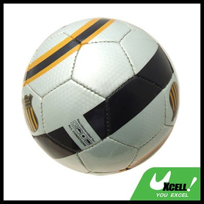 Black Silver Stripe Soccer Ball Football Official Size 5