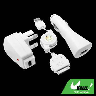 3 in 1 Travel UK Wall Charger + Car Charger Adapter + USB Sync Cable for iPod