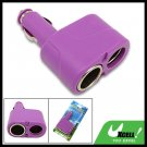 Mini Purple 2 Way Socket Car Charger Splitter Adapter for Drivers