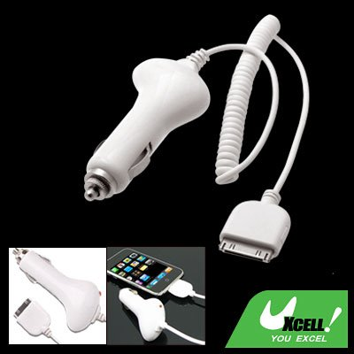 Car Charger Adapter for Apple iPod Nano iPhone 3G White