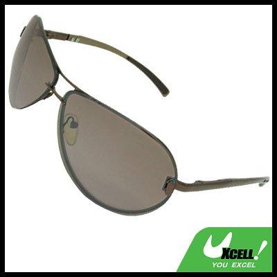 Unisex Women Man Brown Metal Frame Fishing Sunglasses