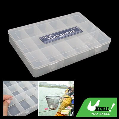 Transparent Plastic 18 Compartments Fishing Tackle Lure Bait Box