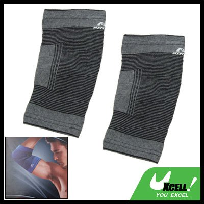 2PCS Gray Sports Elastic Elbow Joint Support Protector Size L