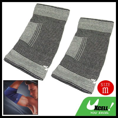 Gray Elastic Sports Elbow Support Joint Protector 2PCS