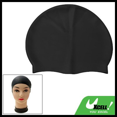 Black Competition Durable Silicone Swim Swimming Cap Hat