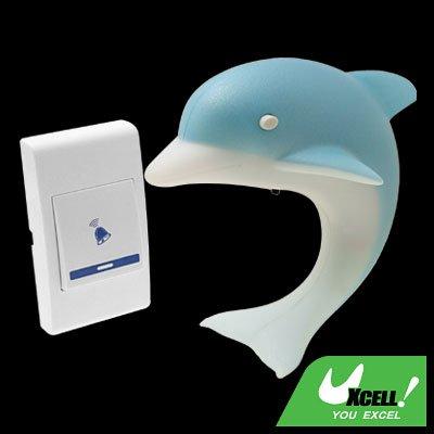Sky Blue Dolphin Remote Control Wireless Doorbell Night Light (German Plug)