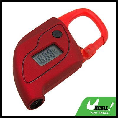 Mini Key ring Digital LCD Tire Gauge with Compass (CC-108) - Red