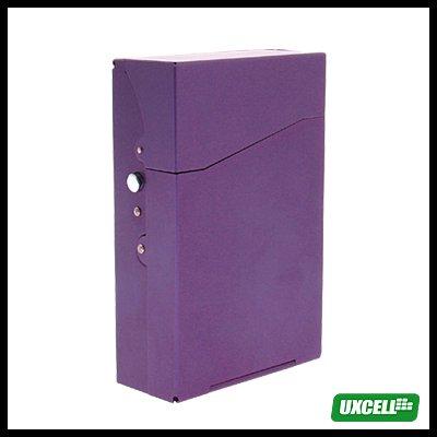 TRAVEL Aluminum Hard Cigarette Case Box 12 Cigarettes- Purple