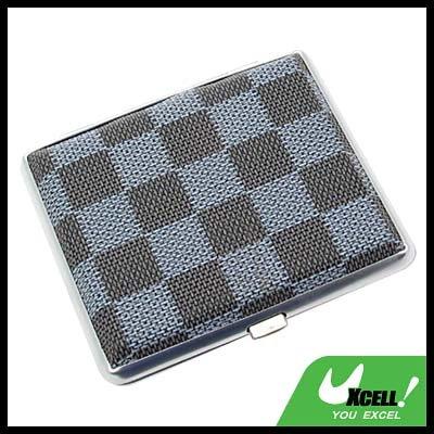 Classical Slim Leather 18 Cigarette Box Case Holder - Blue Checker