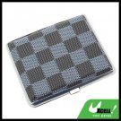 Classical Slim Leather 18 Cigarette Box Case Holder - Blue Checker