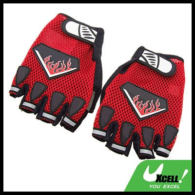 Large Sports Mountain Bike Driving Fingerless Gloves Red