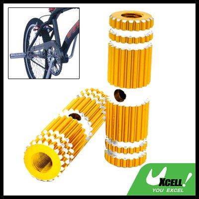 "Uneven Two Golden BMX Bicycle Bike 3/8"" Axle Steel Foot Pegs"