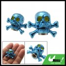 Blue Pair Skull Head Car Wheel Tyre Valve Dust Cap Cover (ZHB-510)