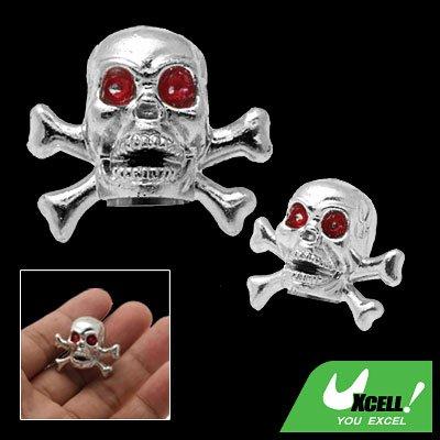 Pair Skull Head Car Wheel Tyre Valve Dust Cap Cover Silvery (ZHB-510)