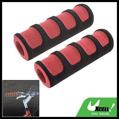 Pair Road Bike Bicycle Foam Handle Bar Grips Black and Red